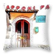 San Felice Circeo Door Of The School Throw Pillow