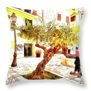 San Felice Circeo Olive Tree In The Square Throw Pillow