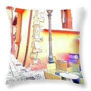 San Felice Circeo Strret Lamp Throw Pillow