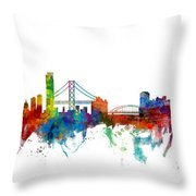 San Francisco And Pittsburgh Skylines Mashup Throw Pillow