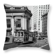 San Francisco Cable Car During Wwii Throw Pillow