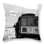 San Francisco Cable Car With Alcatraz Throw Pillow by Shane Kelly
