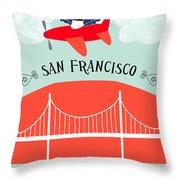 San Francisco California Vertical Scene - Bird In Plane Over San Francisco Throw Pillow