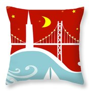 San Francisco California Vertical Scene - East Bay Bridge And Boat Throw Pillow