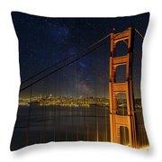 San Francisco City Skyline Through Golden Gate Bridge Throw Pillow
