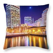 San Francisco Downtown City Skyline At Night Throw Pillow