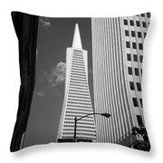 San Francisco - Transamerica Pyramid Bw Throw Pillow