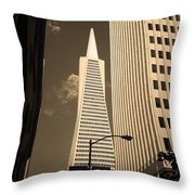 San Francisco - Transamerica Pyramid Sepia Throw Pillow