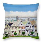 San Francisco's Painted Ladies Throw Pillow by Mike Robles