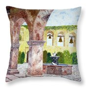San Juan Capistrano Courtyard Throw Pillow