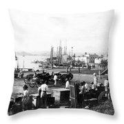 San Juan Harbor - Puerto Rico - C 1900 Throw Pillow