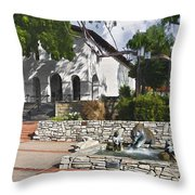San Luis Mission Fountain Throw Pillow