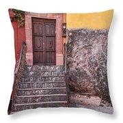 San Miguel Steps And Door Throw Pillow