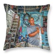 San Pedro Bike Repair Throw Pillow