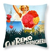 San Remo, Italian Riviera, Girl With Flowers Throw Pillow