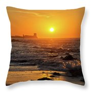 Sancti Petri Castle At Sunset San Fernando Cadiz Spain  Throw Pillow