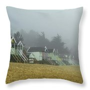 Sand And Huts And Fog Throw Pillow