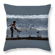 Sand And Surf Throw Pillow