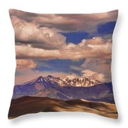 Sand Dunes - Mountains - Snow- Clouds And Shadows Throw Pillow