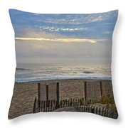 Sand Fence And Beach Throw Pillow