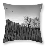 Dune Fences - Grayscale Throw Pillow