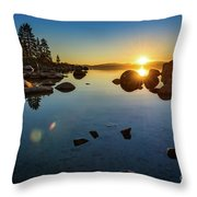 Sand Harbor Sunset Throw Pillow