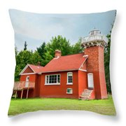 Sand Point Lighthouse - Baraga Throw Pillow