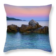 Sand Rocks In The Sea At Sunset Throw Pillow