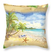 Sand Sea Sunshine On Tropical Beach Shores Throw Pillow