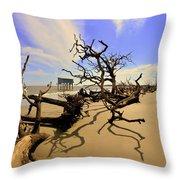 Sand Sun Beach And Little Blue Throw Pillow by Lisa Wooten