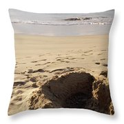 Sandcastle On The Beach, Hapuna Beach Throw Pillow