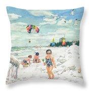 Sandcastles On Siesta Key Public Beach Throw Pillow