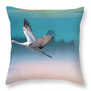 Sandhill Crane And Misty Marshes Throw Pillow