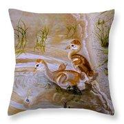 Sandhill Cranes Chicks First Bath Throw Pillow