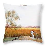 Sandhill Cranes-jp3160 Throw Pillow