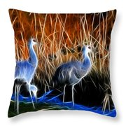 Sandhill Cranes Pair Fractal Throw Pillow