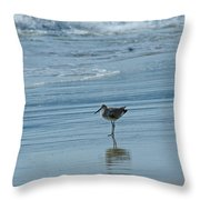 Sandpiper On The Beach Throw Pillow