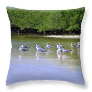 Sandpiper Party Throw Pillow
