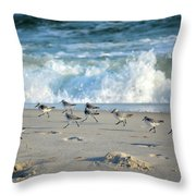 Sandpipers Running Everywhere Throw Pillow
