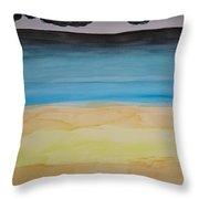 Sandy Beach And Cloudy Sky Throw Pillow
