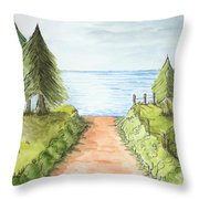 Sandy Beach Awaits Throw Pillow