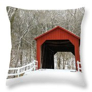 Sandy Creek Covered Bridge Throw Pillow