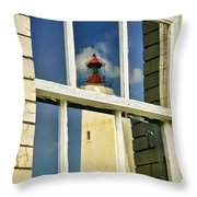 Sandy Hook Lighthouse Reflection Throw Pillow