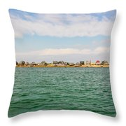 Sandy Neck Lighthouse And Cottages, Barnstable, Massachusetts, U.s.a. Throw Pillow