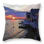 Sandy Neck Sunset At The Cottages Throw Pillow