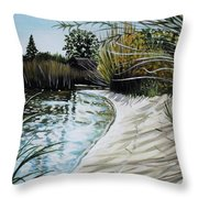 Sandy Reeds Throw Pillow