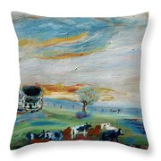 Sandy Ridge Cattle Throw Pillow