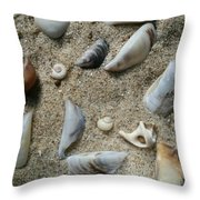 Sandy Seashells Throw Pillow