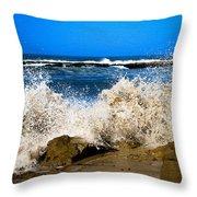 Sandy Surf Splash Throw Pillow