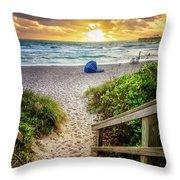 Sandy Walk Down To The Beach Throw Pillow